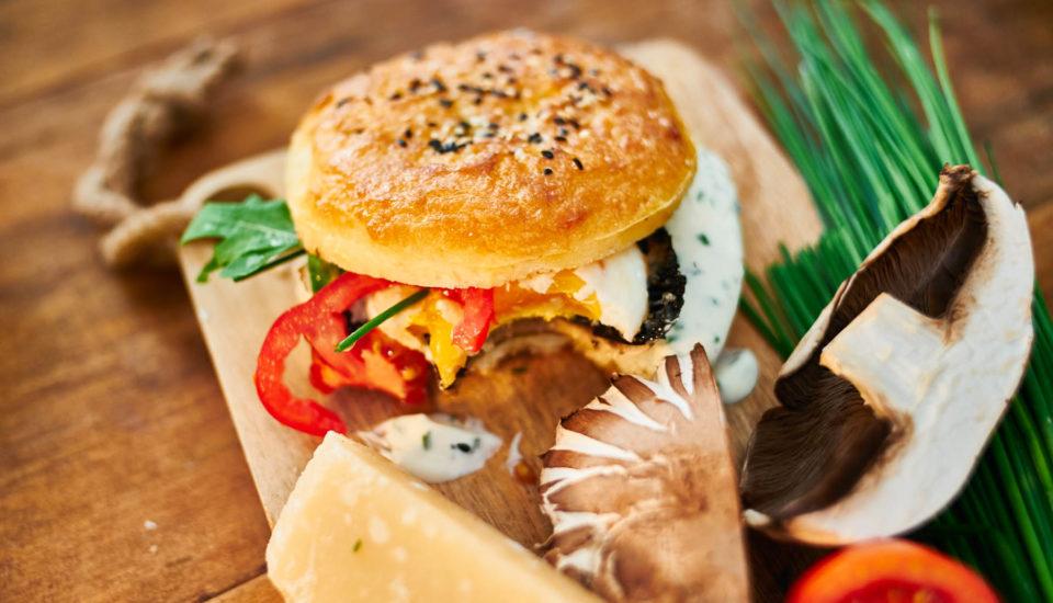 Houbový burger vbezlepkové bulce