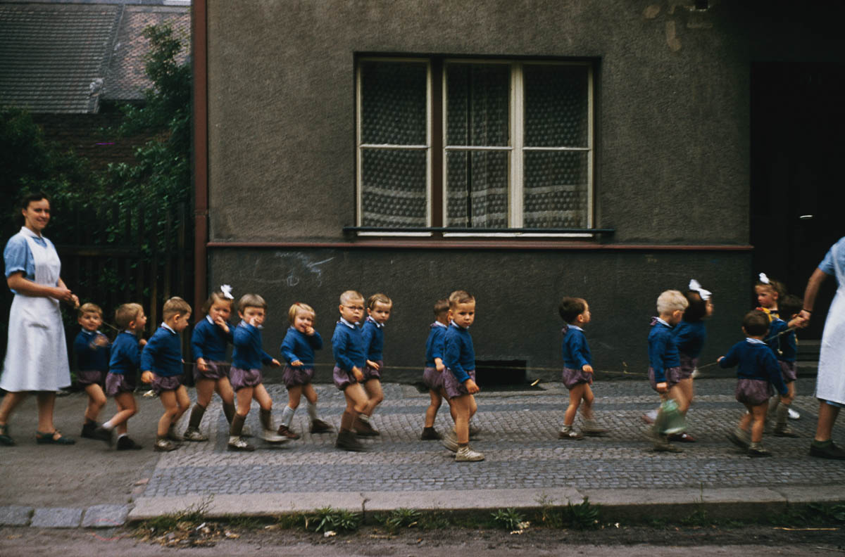 A 'crocodile' of schoolchildren in Bohemia, Czechoslovakia, circa 1960. (Photo by Archive Photos/Getty Images)