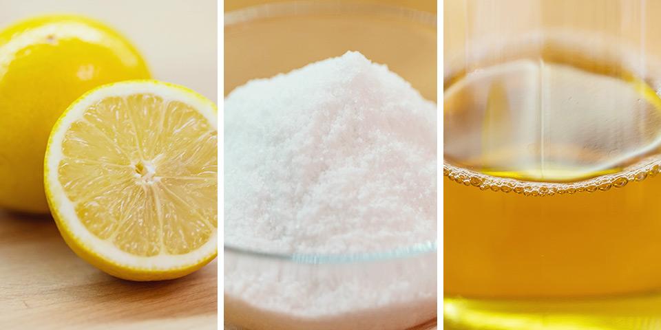Základ pro ekologický úklid: citron, sůl a ocet