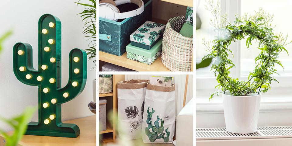 Detailní fotky zelených dekorací z aktuální kolekce Tchibo