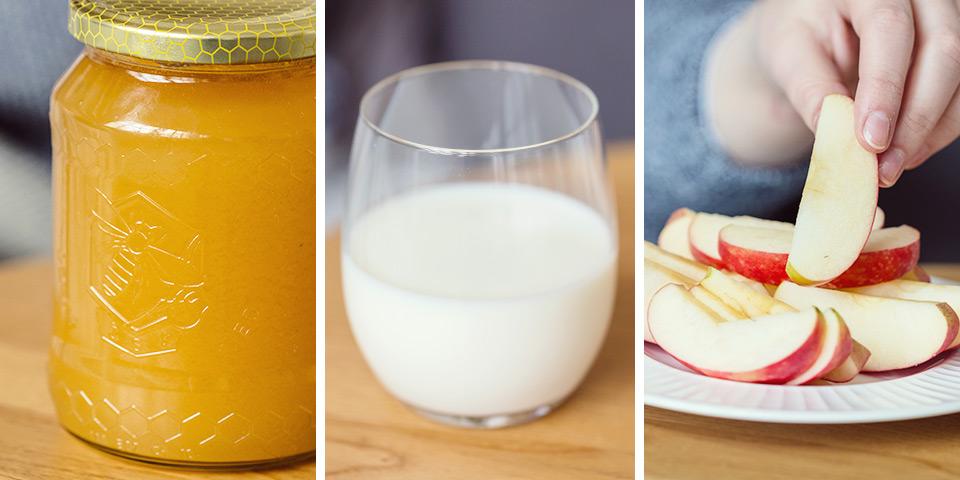 Med, mléko, jablko